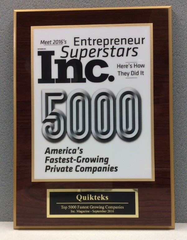 Quikteks Reaches 2016 Inc. 5000 List