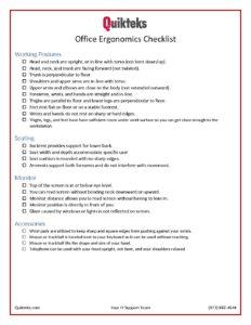 Office Ergonomics Checklist Quikteks Tech Support
